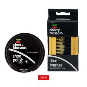 Cherry Blossom Shoe Polish Black and Shoe Brush
